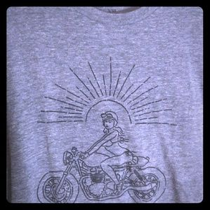 Lucky Brand Gray Tee w/ Biker Graphics
